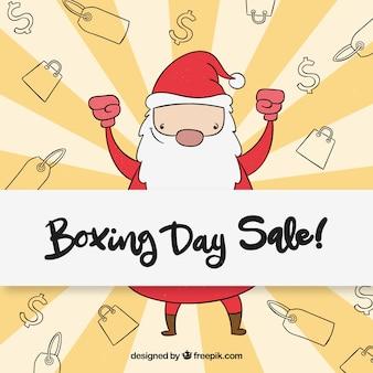 Hand getrokken in dozen doende de verkoopkenteken van de dag met de kerstman