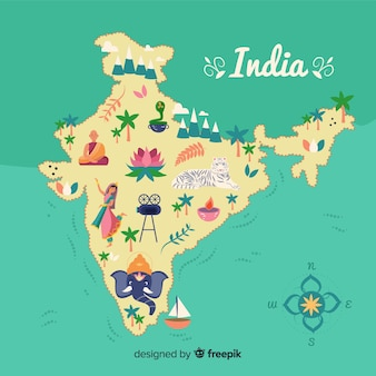 Hand getrokken india kaart achtergrond