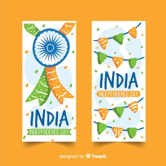 Hand getrokken india onafhankelijkheidsdag banners