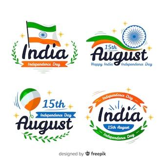 Hand getrokken india onafhankelijkheidsdag kenteken collectie