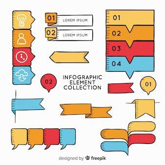 Hand getrokken infographic elementeninzameling