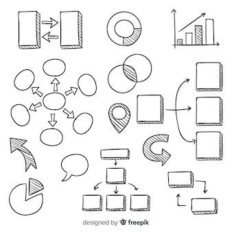 Hand getrokken infographic elementenverzameling