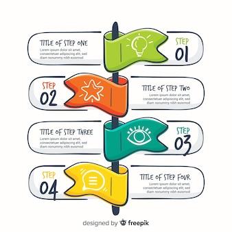 Hand getrokken infographic stappen