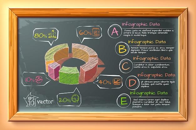 Hand getrokken infographics met kleurrijke diagram vijf opties tekstpictogrammen op bord in houten frame illustratie
