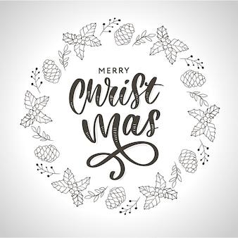 Hand getrokken inkt kerstkrans met hobbel, dennentakken, kerstversiering.