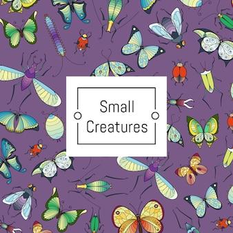 Hand getrokken insecten met copyspace illustratie