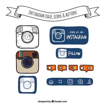 Hand getrokken instagram logo, pictogrammen en knoppen