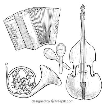 Hand getrokken instrumenten collectie