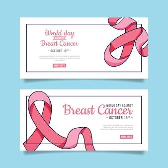 Hand getrokken internationale dag tegen borstkanker horizontale banners set