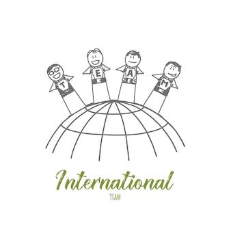Hand getrokken internationale team concept schets