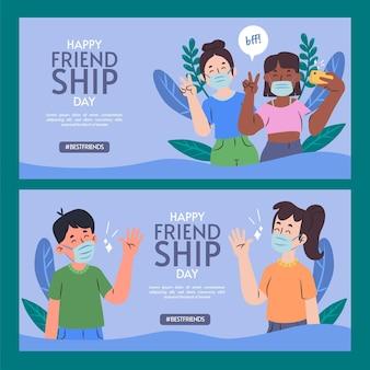 Hand getrokken internationale vriendschapsdag banners instellen