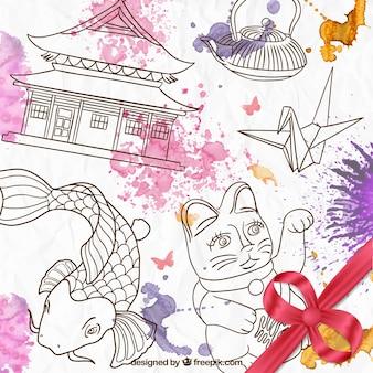 Hand getrokken japanse cultuur