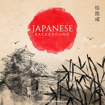 Hand getrokken japanse landschap achtergrond