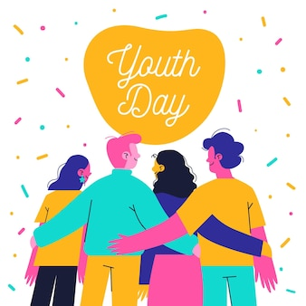 Hand getrokken jeugddag mensen samen knuffelen