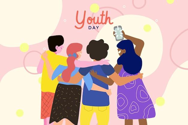 Hand getrokken jeugddag - mensen samen knuffelen