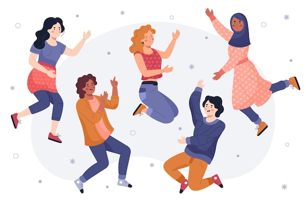 Hand getrokken jeugddag - mensen springen