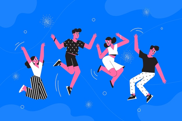 Hand getrokken jeugddag springende mensen