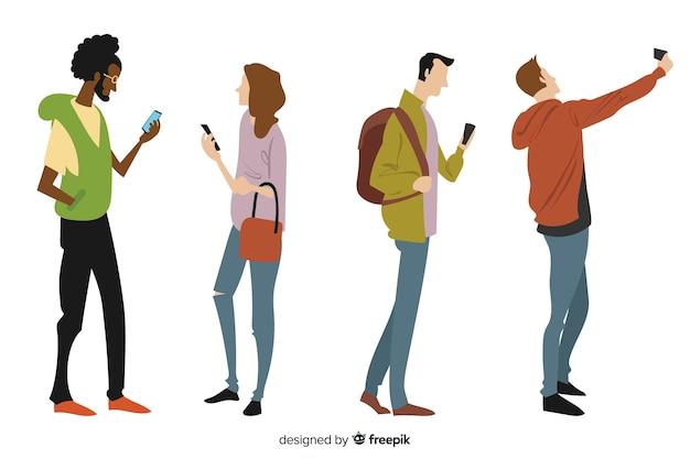 Hand getrokken jonge mensen die smartphones houden