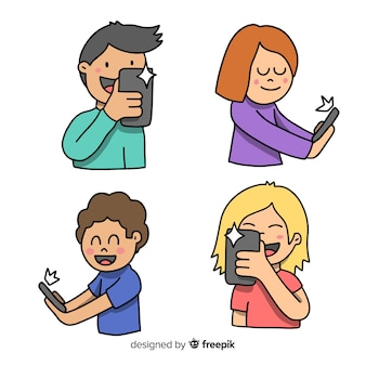 Hand getrokken jonge mensen met behulp van technologische apparaten