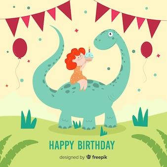 Hand getrokken jongen die een achtergrond van de dinosaurusverjaardag berijdt