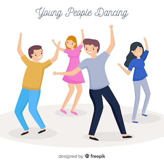 Hand getrokken jongeren dansen illustratie