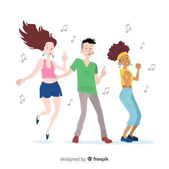 Hand getrokken jongeren dansen pack