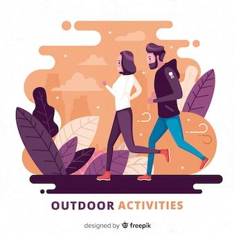 Hand getrokken jongeren doen outdoor activiteiten achtergrond