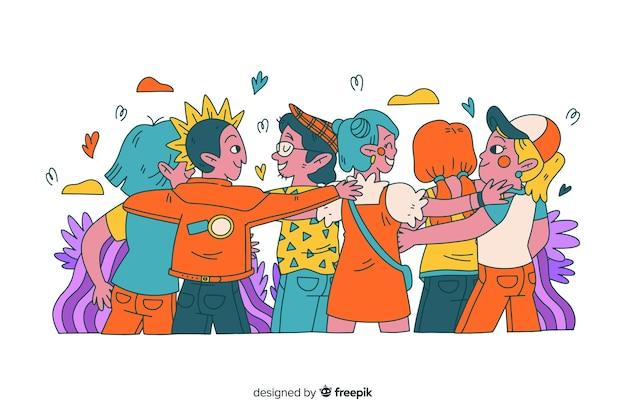 Hand getrokken jongeren knuffelen samen