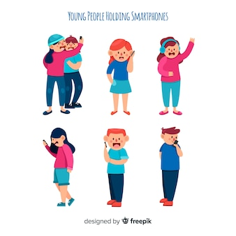 Hand getrokken jongeren met behulp van smartphone set