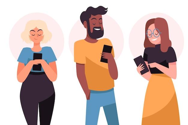 Hand getrokken jongeren met behulp van smartphones