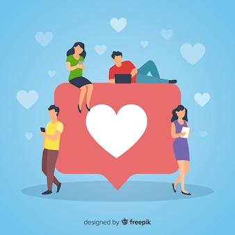 Hand getrokken jongeren sociale media hart concept achtergrond