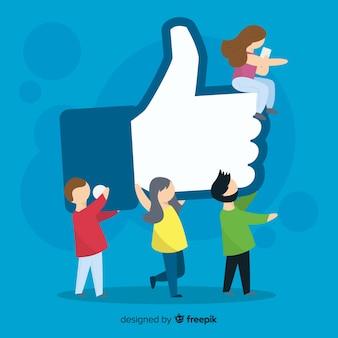 Hand getrokken jongeren sociale media zoals conceptenachtergrond