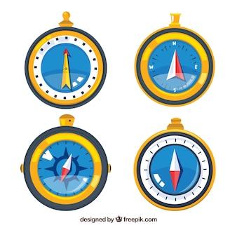 Hand getrokken kaart kompas collectie