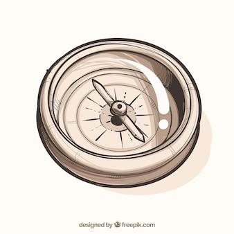 Hand getrokken kaart kompas