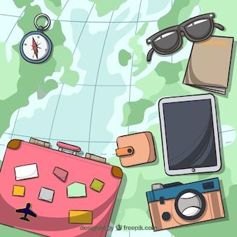 Hand getrokken kaart met reiselementen