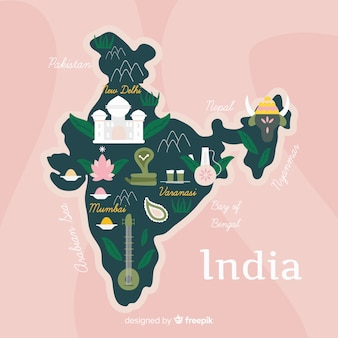 Hand getrokken kaart van india