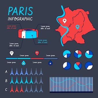 Hand getrokken kaartinformatie van parijs