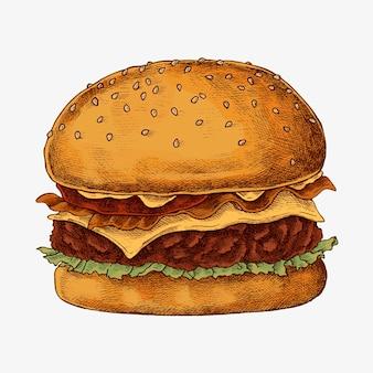 Hand getrokken kaasburger