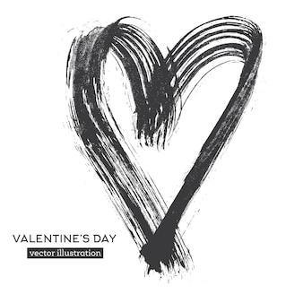 Hand getrokken kalligrafie hart geïsoleerd op een witte achtergrond.