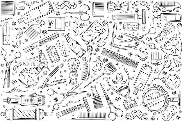 Hand getrokken kapper tools