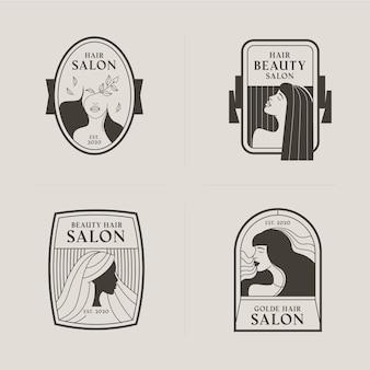 Hand getrokken kapsalon logo-collectie