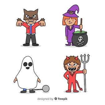 Hand getrokken karakter halloween kind kostuums