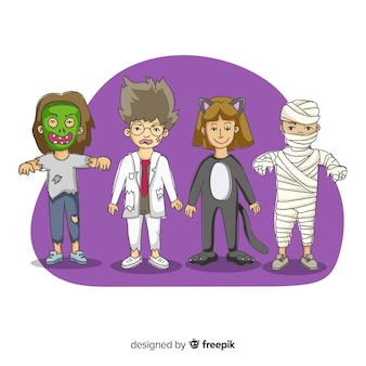 Hand getrokken karakter halloween kinderen kostuums