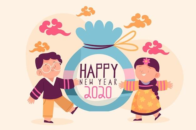 Hand getrokken karakters koreaans nieuwjaar