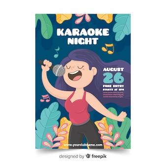 Hand getrokken karaoke poster sjabloon