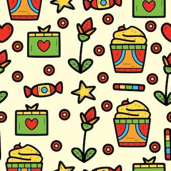 Hand getrokken kawaii cartoon doodle patroon ontwerp