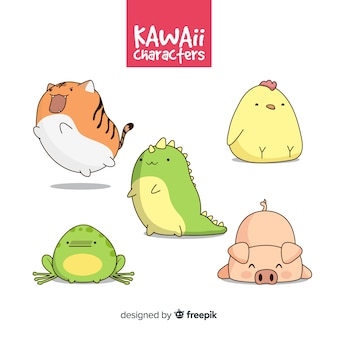 Hand getrokken kawaii dier-collectie