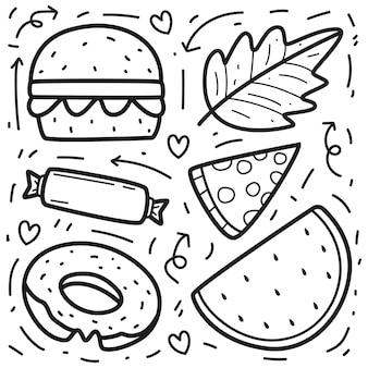 Hand getrokken kawaii doodle cartoon eten
