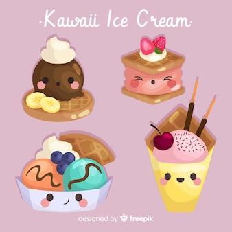Hand getrokken kawaii-ijscollectie