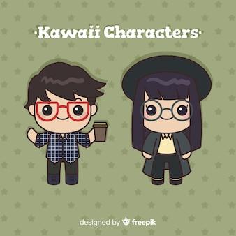 Hand getrokken kawaii karakter collectie